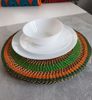 Raffia Hand Crochet Place Mats, Round Placemat Set for House Warming Gift and Kitchen Decor