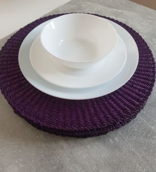 Raffia Hand Crochet Place Mats, Round Placemat Set for House Warming Gift and Kitchen Decor/Purple