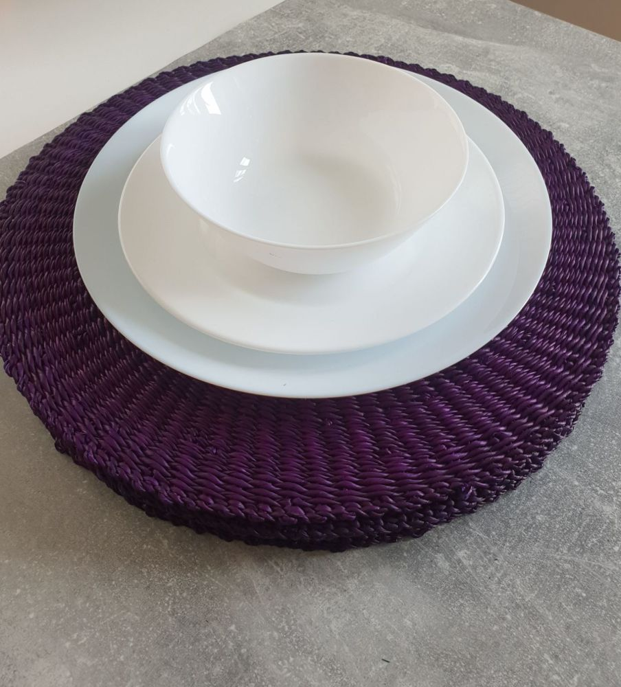 Raffia Hand Crochet Place Mats, Round Placemat Set for House Warming Gift a