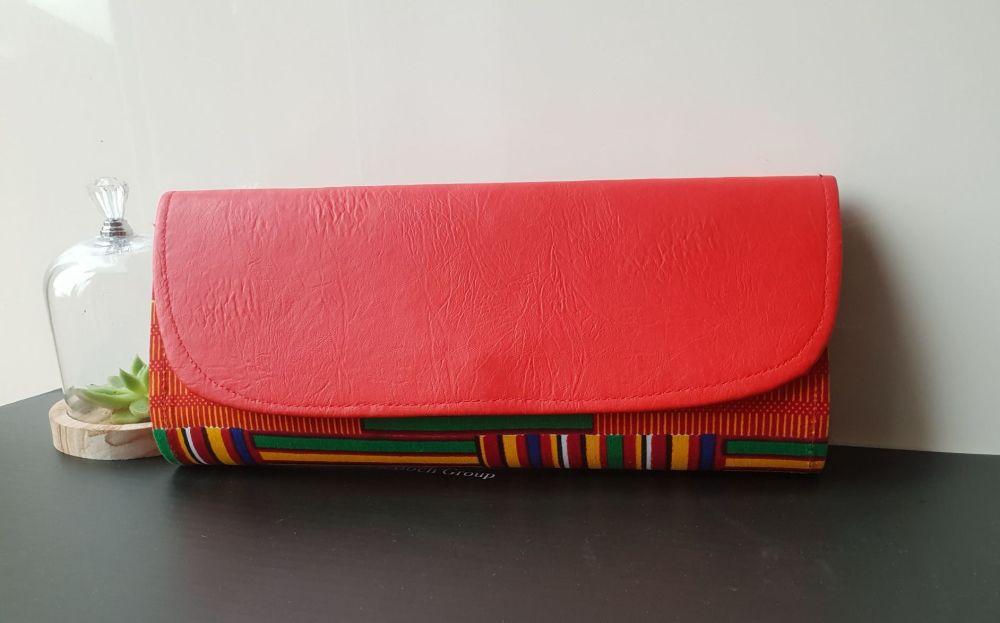 Orange Kente Print Clutch Bag  /Red