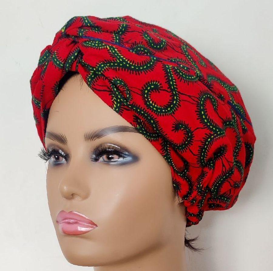African Print Turban / Red Roni