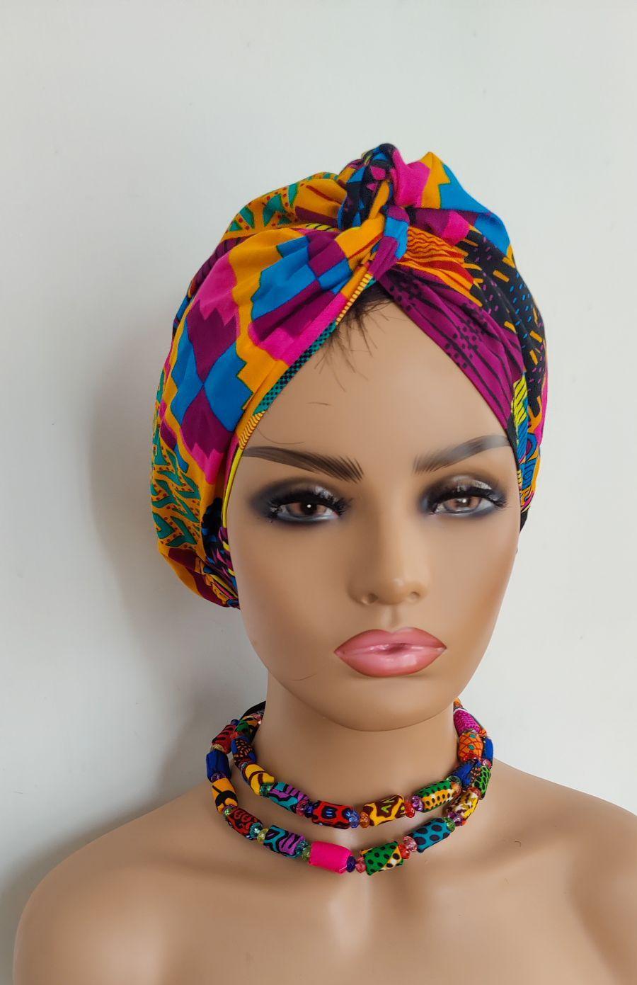 African Print Turban/ Pink Kente