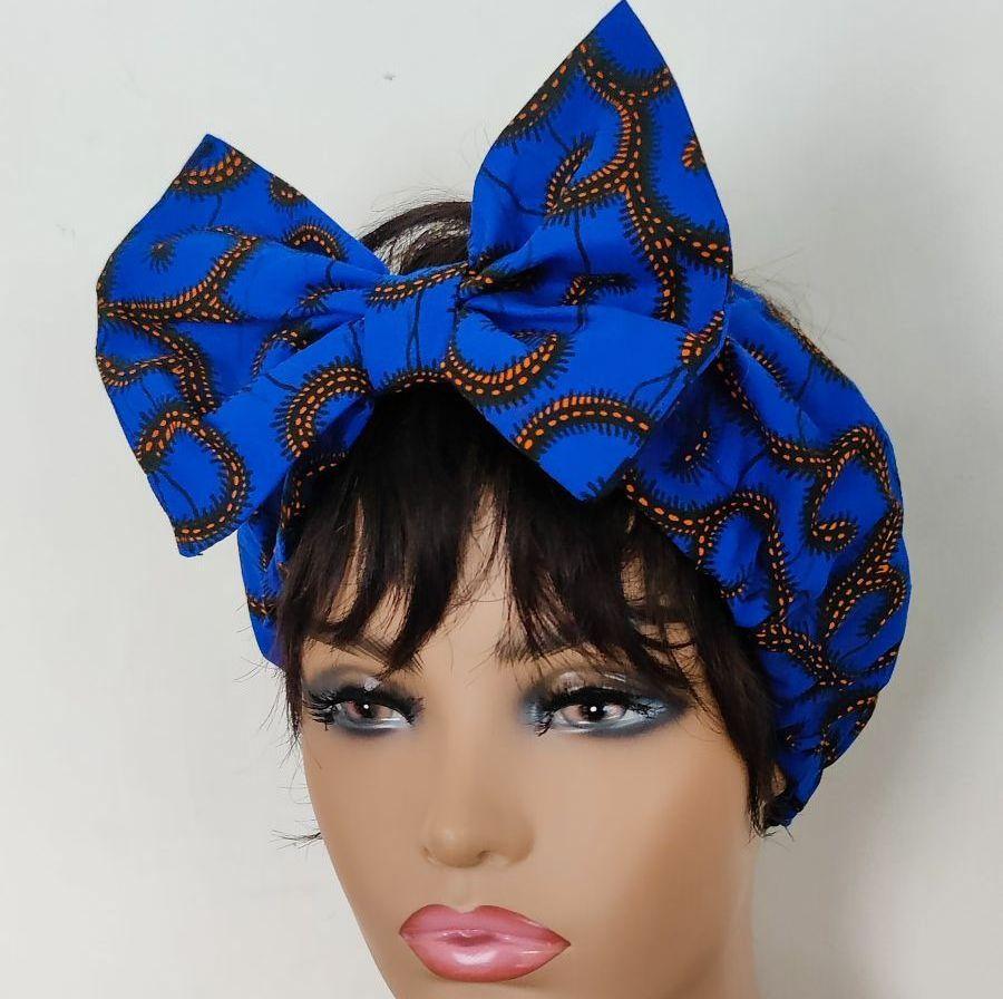 African Print Bow Head bands/   Blu Roni