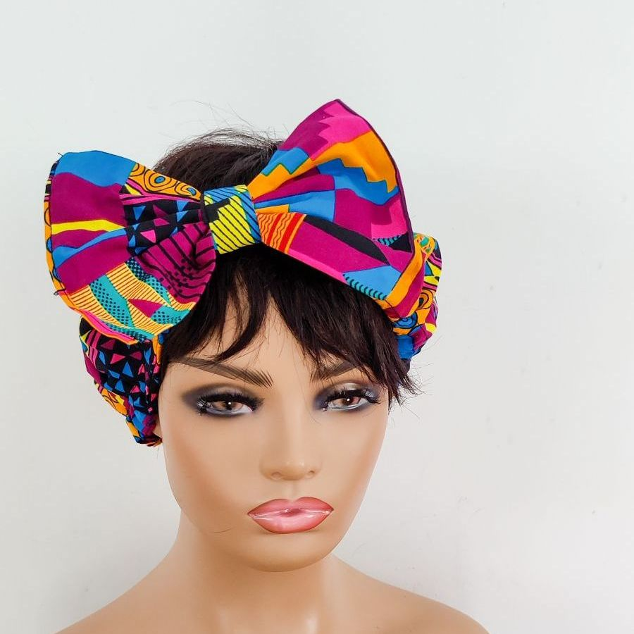 African Print Bow Head bands/  Pink Kente