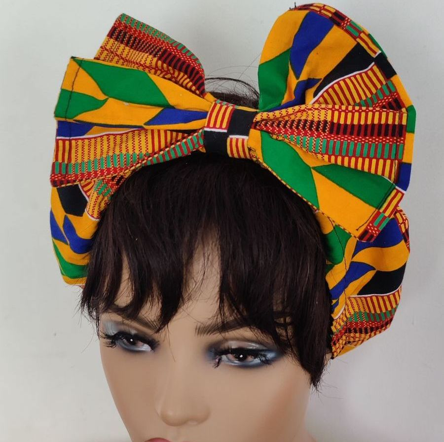 African Print Bow Head bands/ Yellow Kente