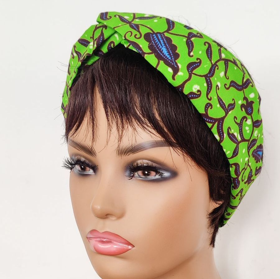 African Print Twisted Head bands/  Green Vine