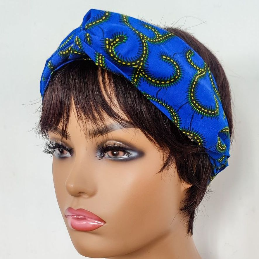 African Print Twisted Head bands/  Blue Roni