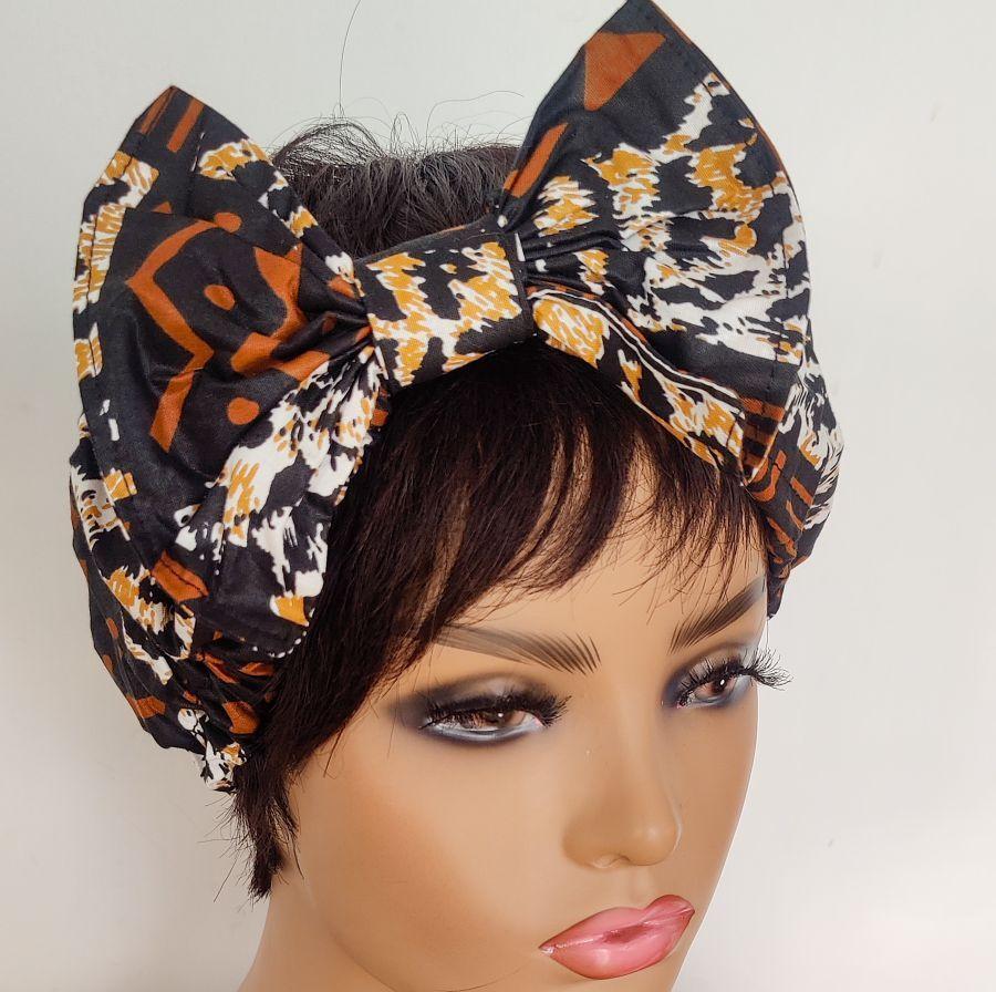 African Print Bow Head bands/  Mud Cloth