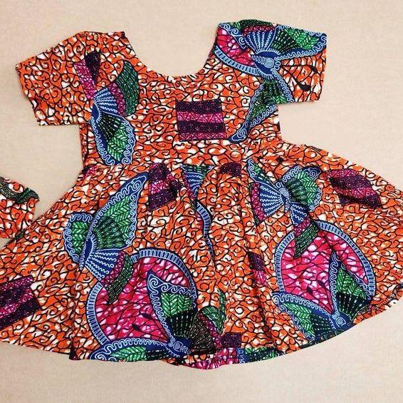 Girls African Print Dress   / Butterflies