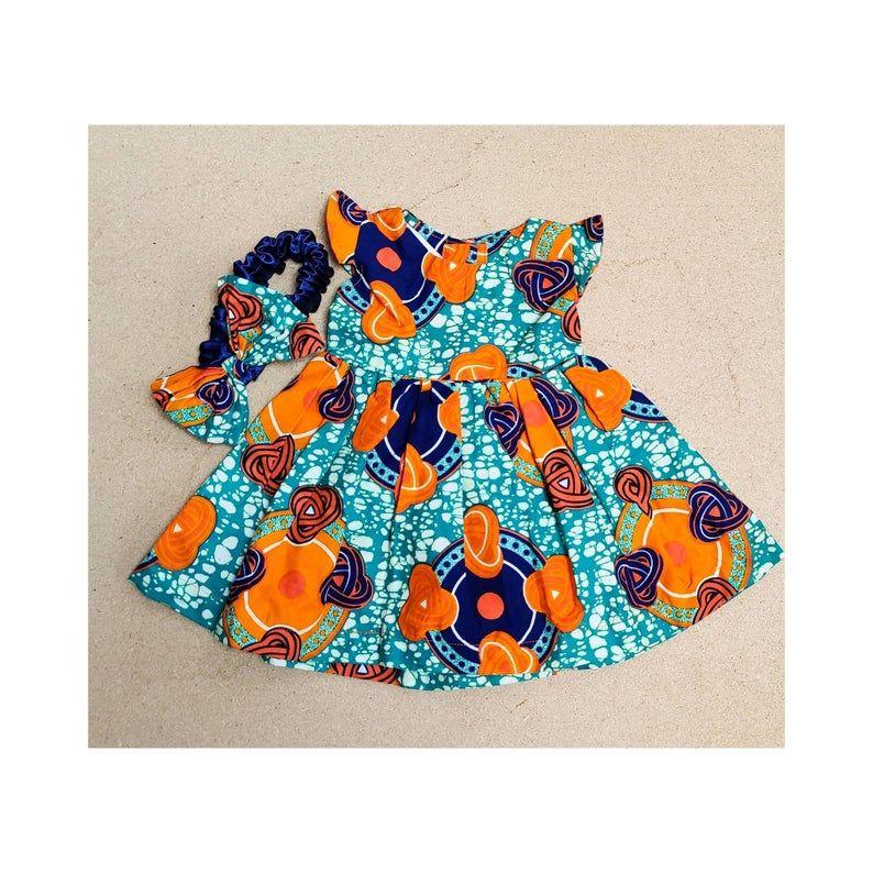 Girls African Print Dress   /Devi