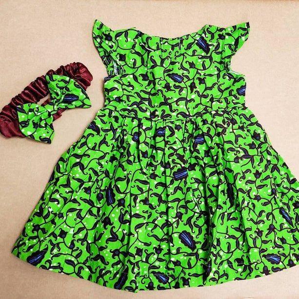 Girls African Print Dress   / Green Vine