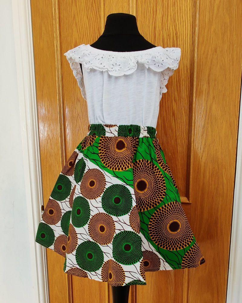 Girls African Print Skirt  / Green Subro