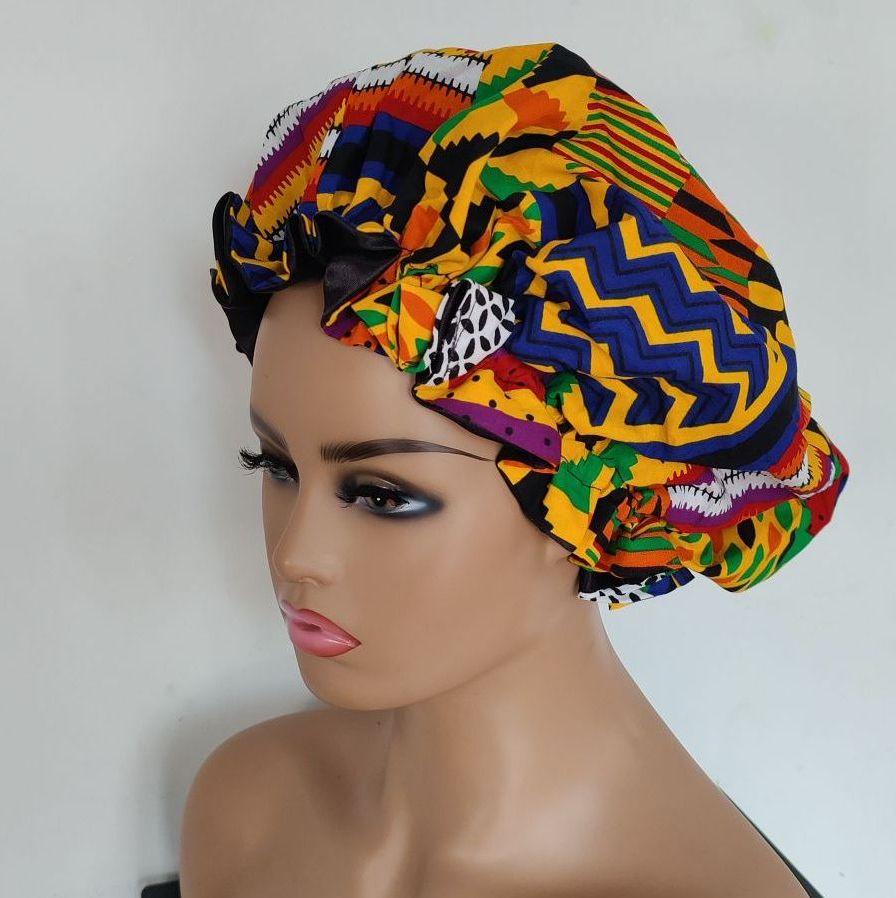 X Large African Print Satin Bonnet/ Kente