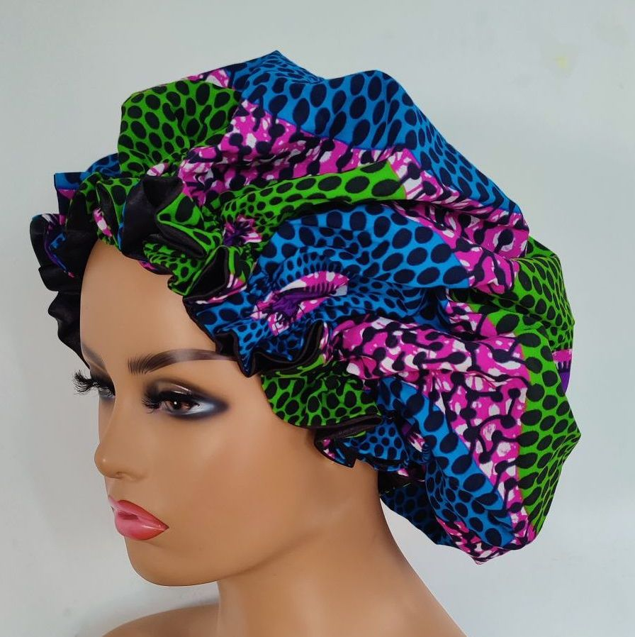 X Large African Print Satin Bonnet/ Ladi
