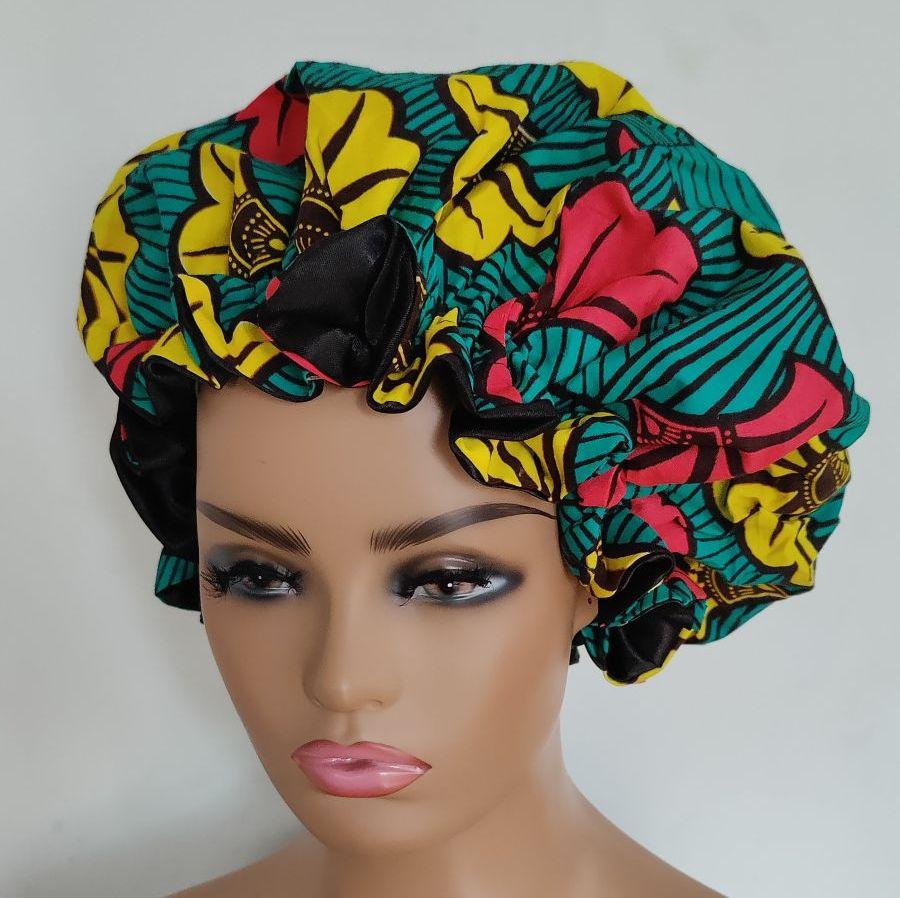 African Print Satin Bonnet/Subro