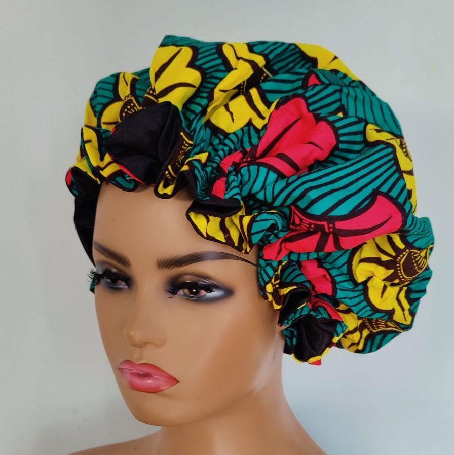 X Large African Print Satin Bonnet/Subro