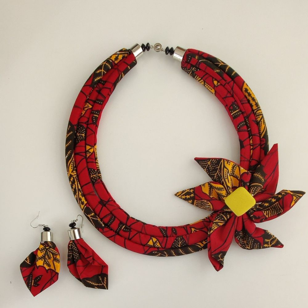 Ankara 3 Cord Necklace and Earrings  Set/  Esinam Red