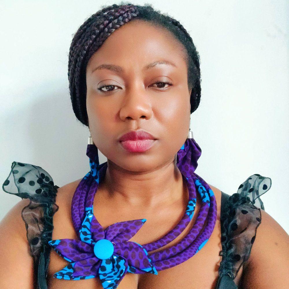 Ankara 3 Cord Necklace and Earrings  Set/  Esinam Purple