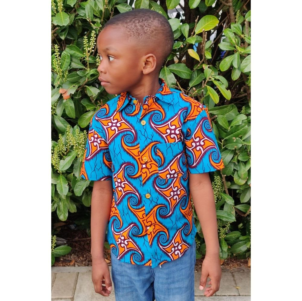 African Print Shirt/Yellow Swirl