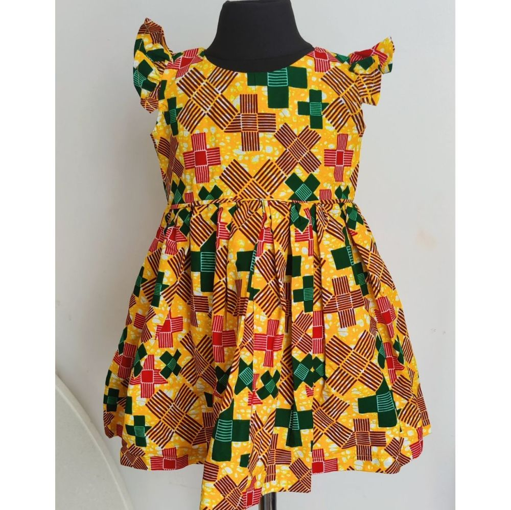Girls African Print Dress   /Hello Yellow