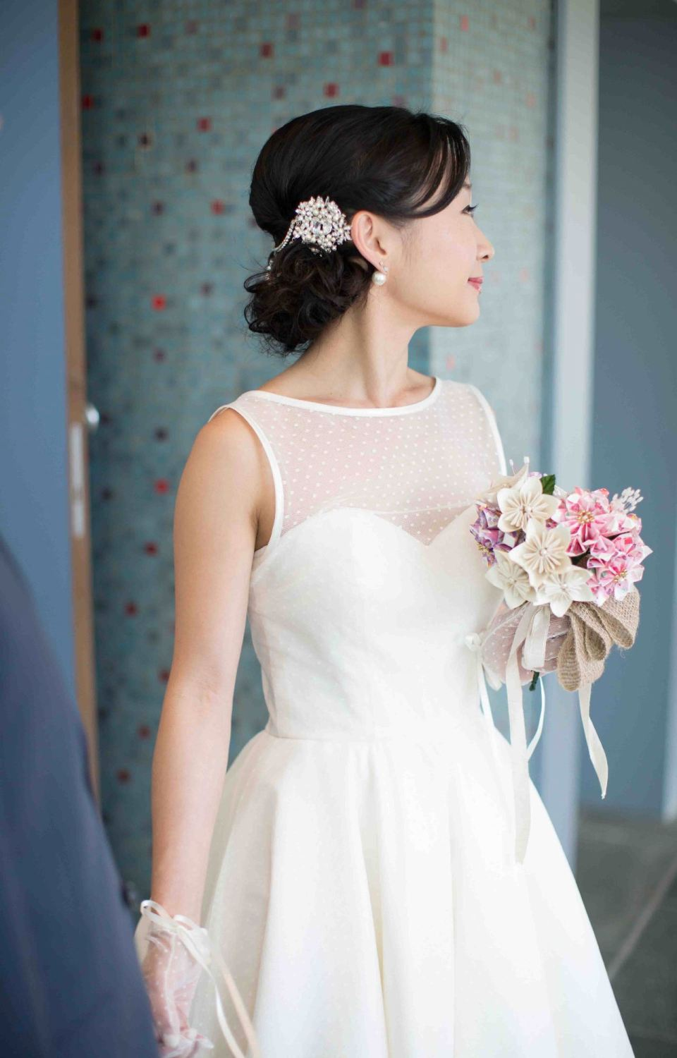 The Dotty tea length wedding dress