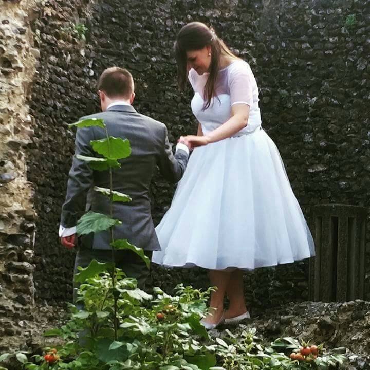 Grey tulle wedding dress tea length