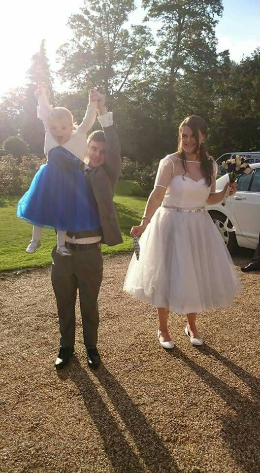 Custom short tulle wedding dress