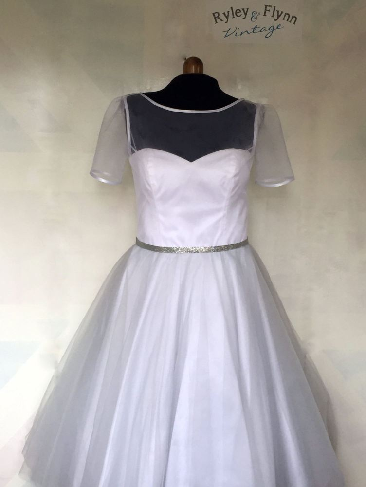 tea length tulle wedding dress with silver belt