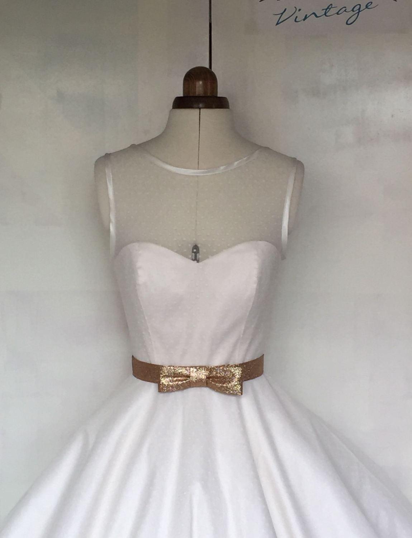 Handmade spotty wedding dress