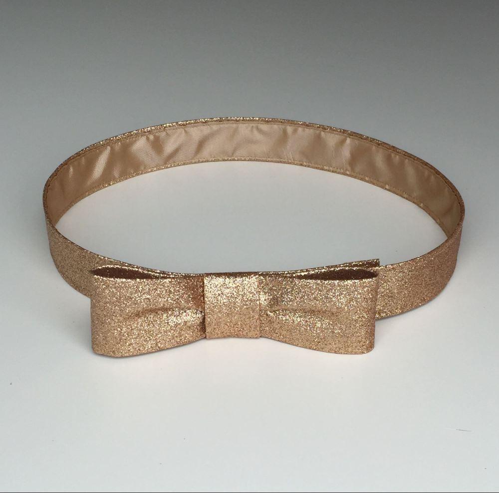 Handmade glitter bow belt