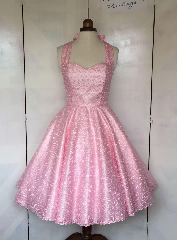 Pink lace halter neck bridesmaid dress
