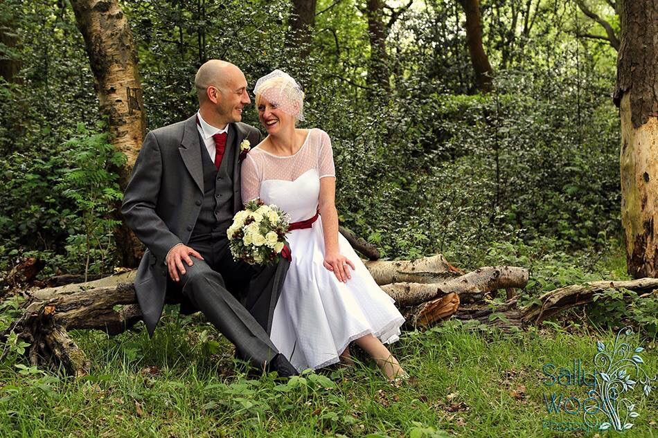 Marcy's Dotty tea length wedding dress