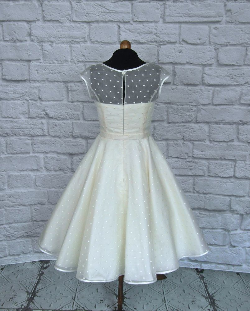 Spotty Silk 1950s tea length wedding dress
