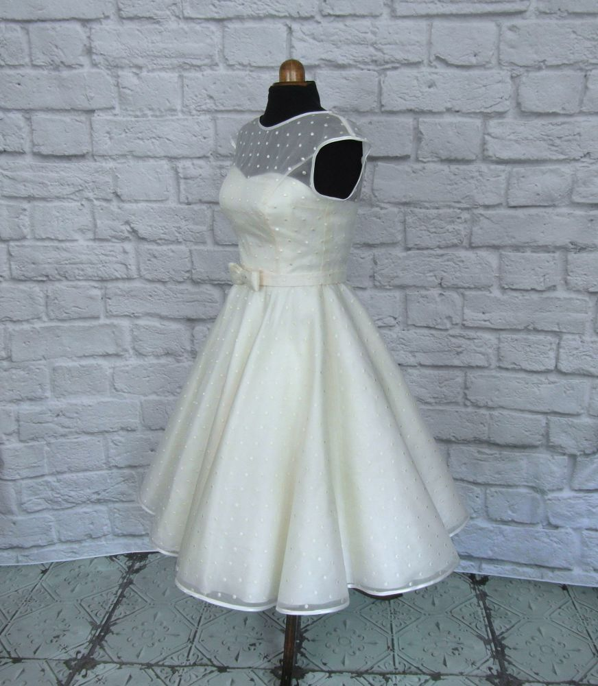 spotty organza tea length wedding gown 1950s