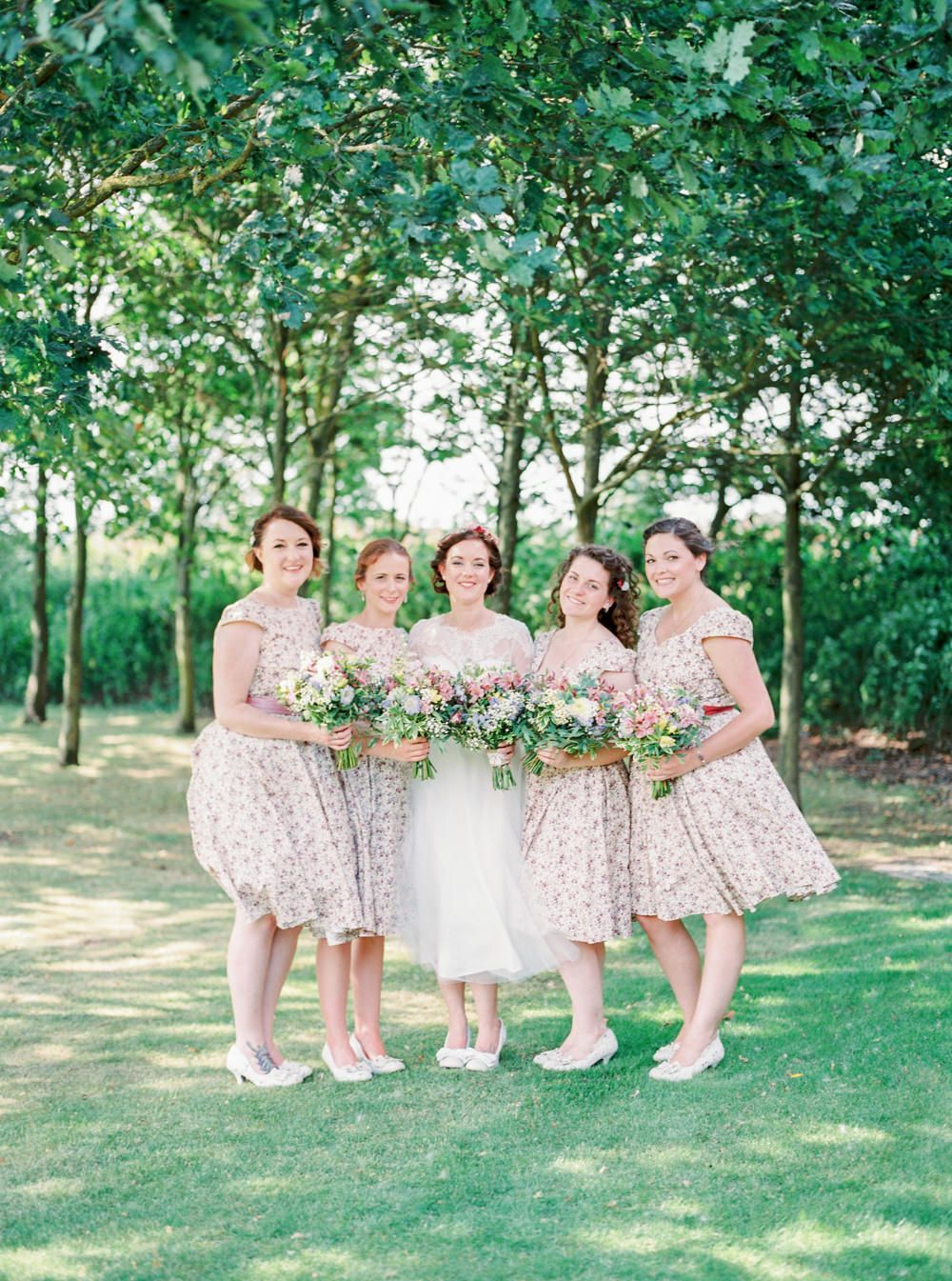 Custom tea length bridesmaids dresses