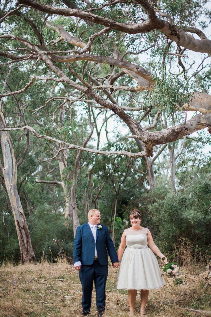 The Dotty tea length silk wedding dress