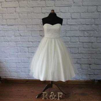 lace tulle silk tea length wedding dress