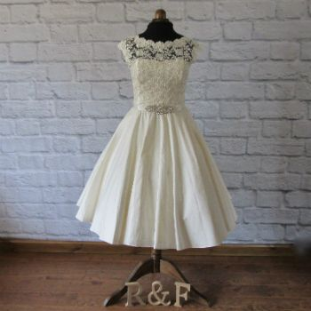 silk lace tea length wedding dress