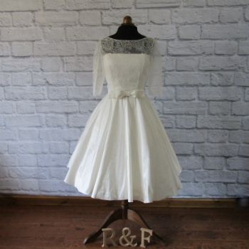 Silk tea length lace wedding dress