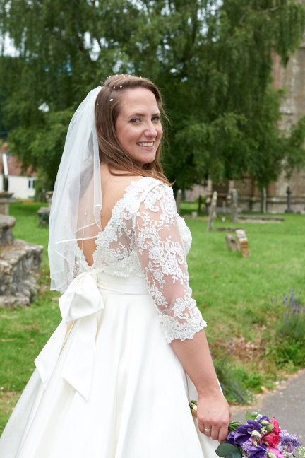 Bespoke tea length lace silk wedding dress