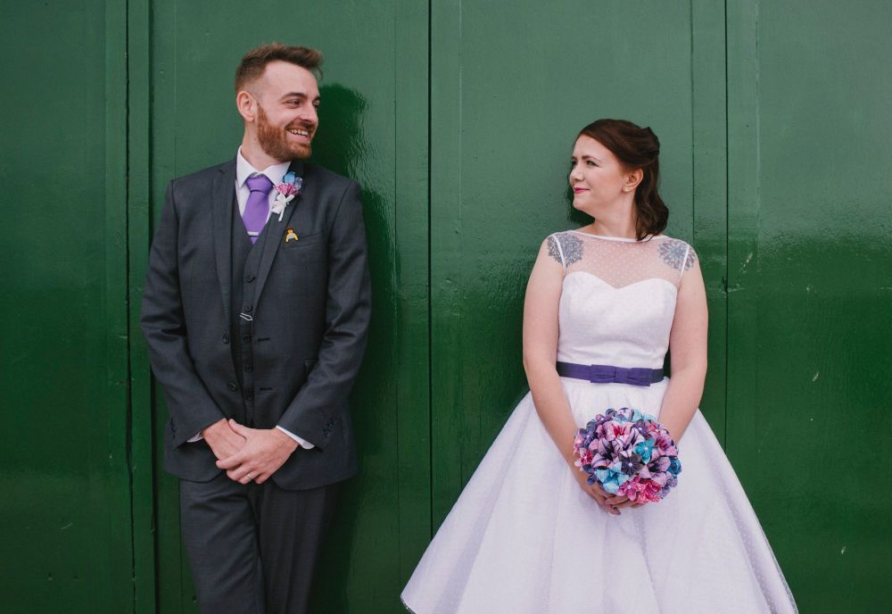 Dotty bespoke tea length wedding dress