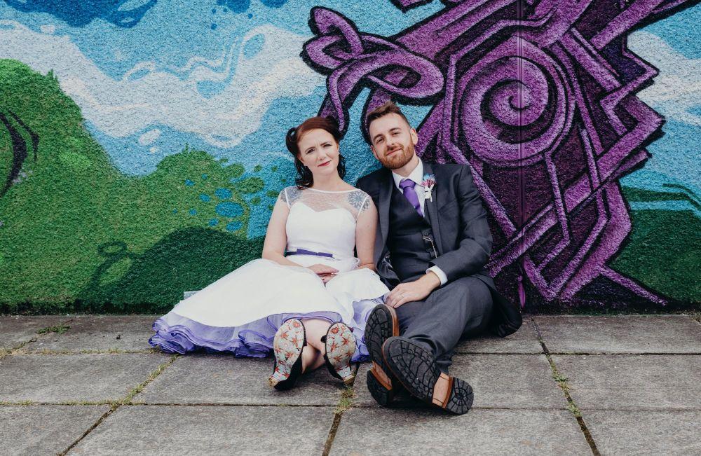 Dotty tea length wedding dress