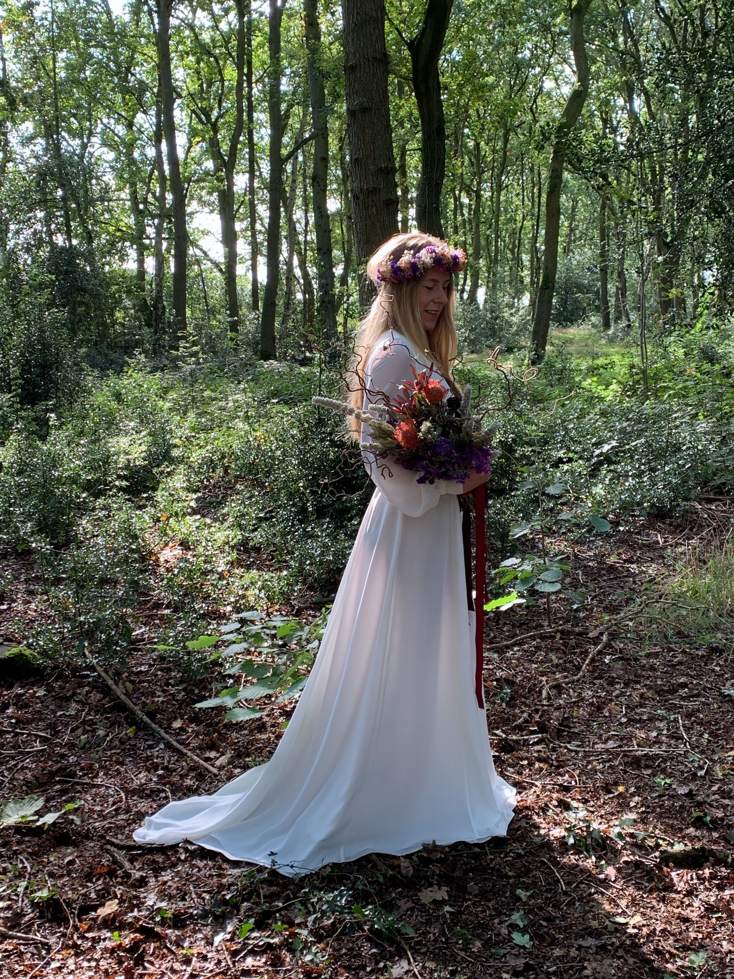 boho wedding dress, handmade wedding gown, flower crown, festival wedding dress