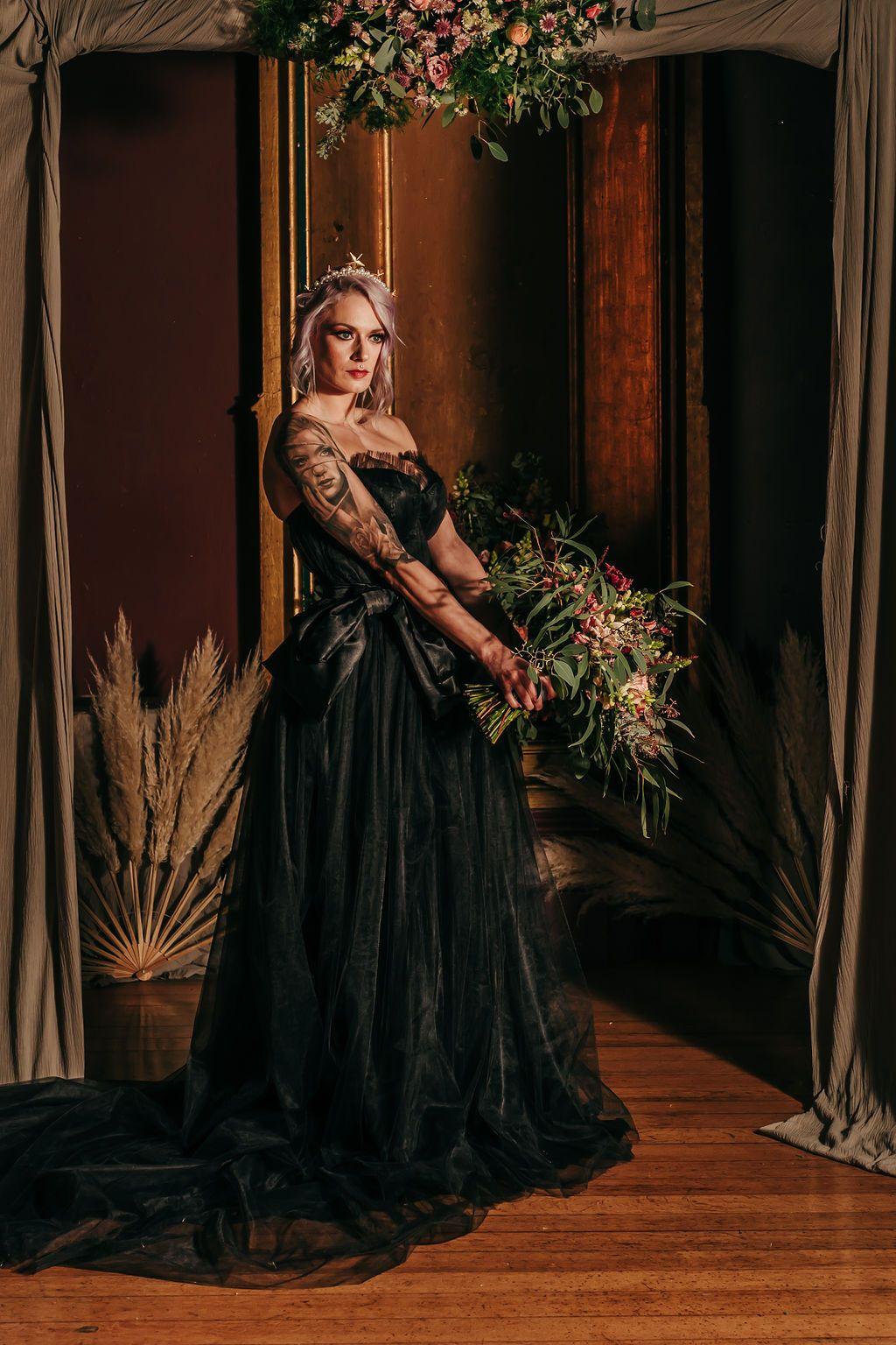 Black tulle corset wedding dress