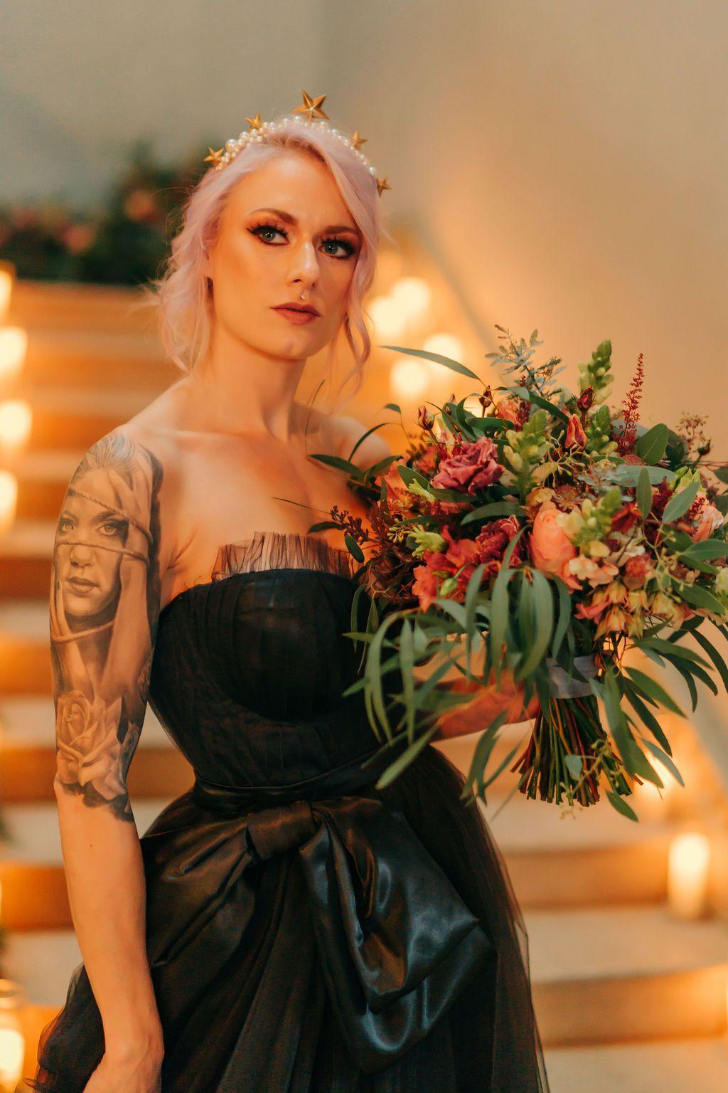 Black tulle alternative wedding dress