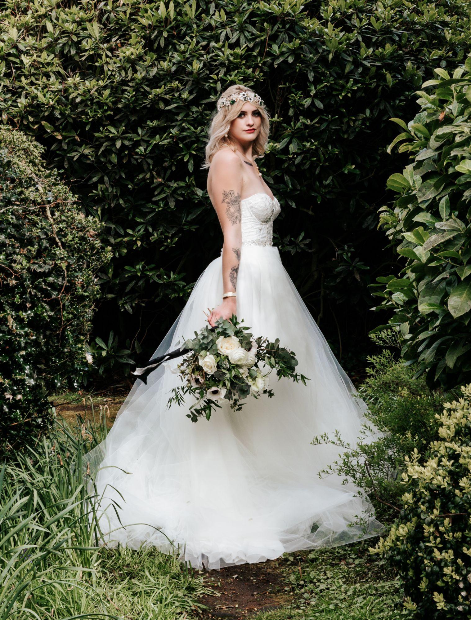 Ivory tulle corset alternative wedding dress