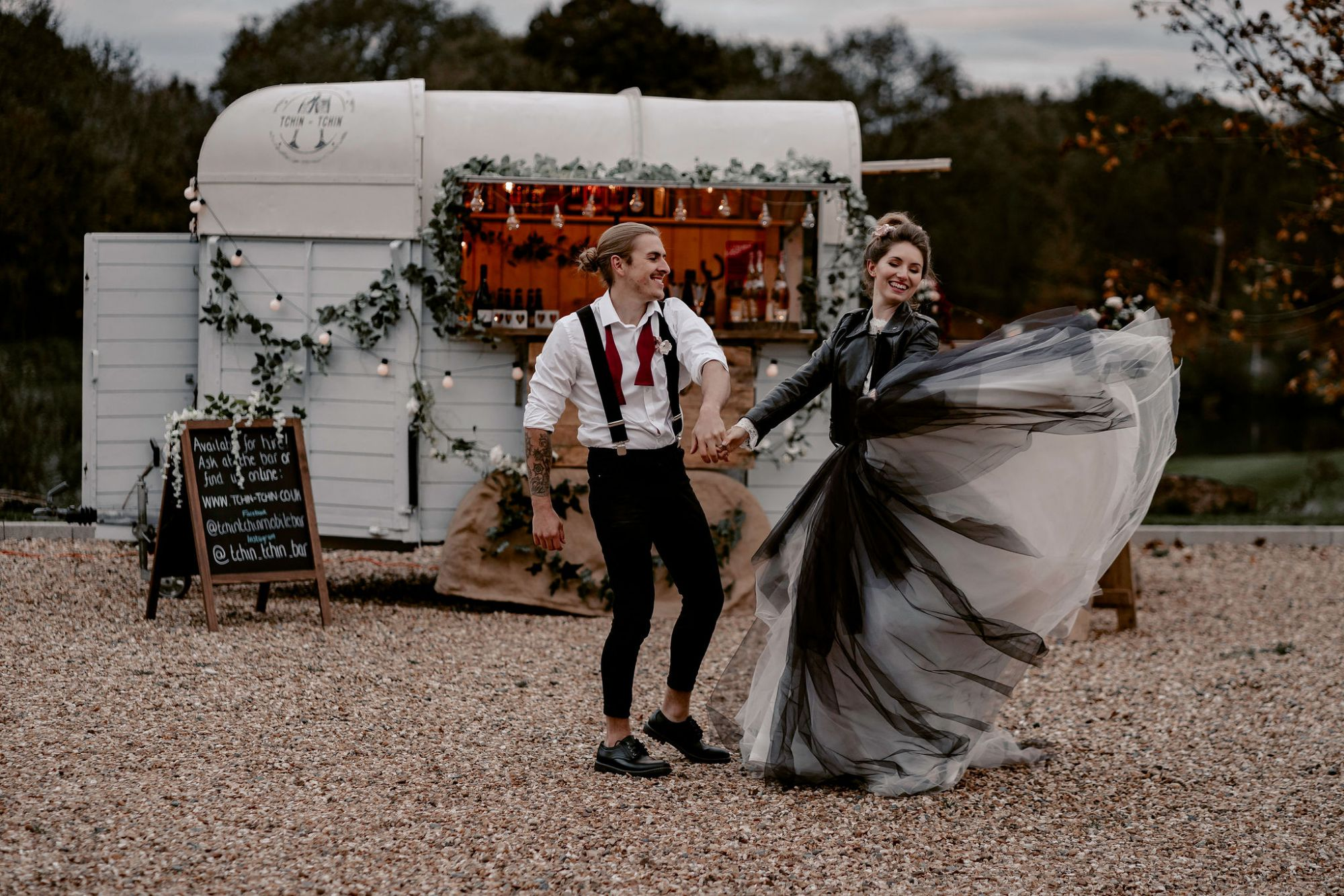 Black tulle alternative wedding dress skirt