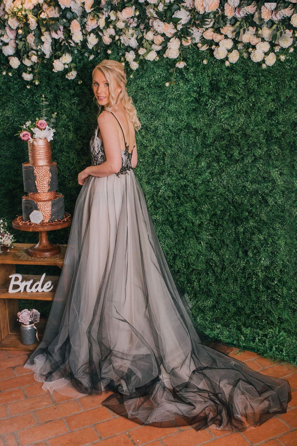 black ivory lace Wedding dress with black tulle skirt