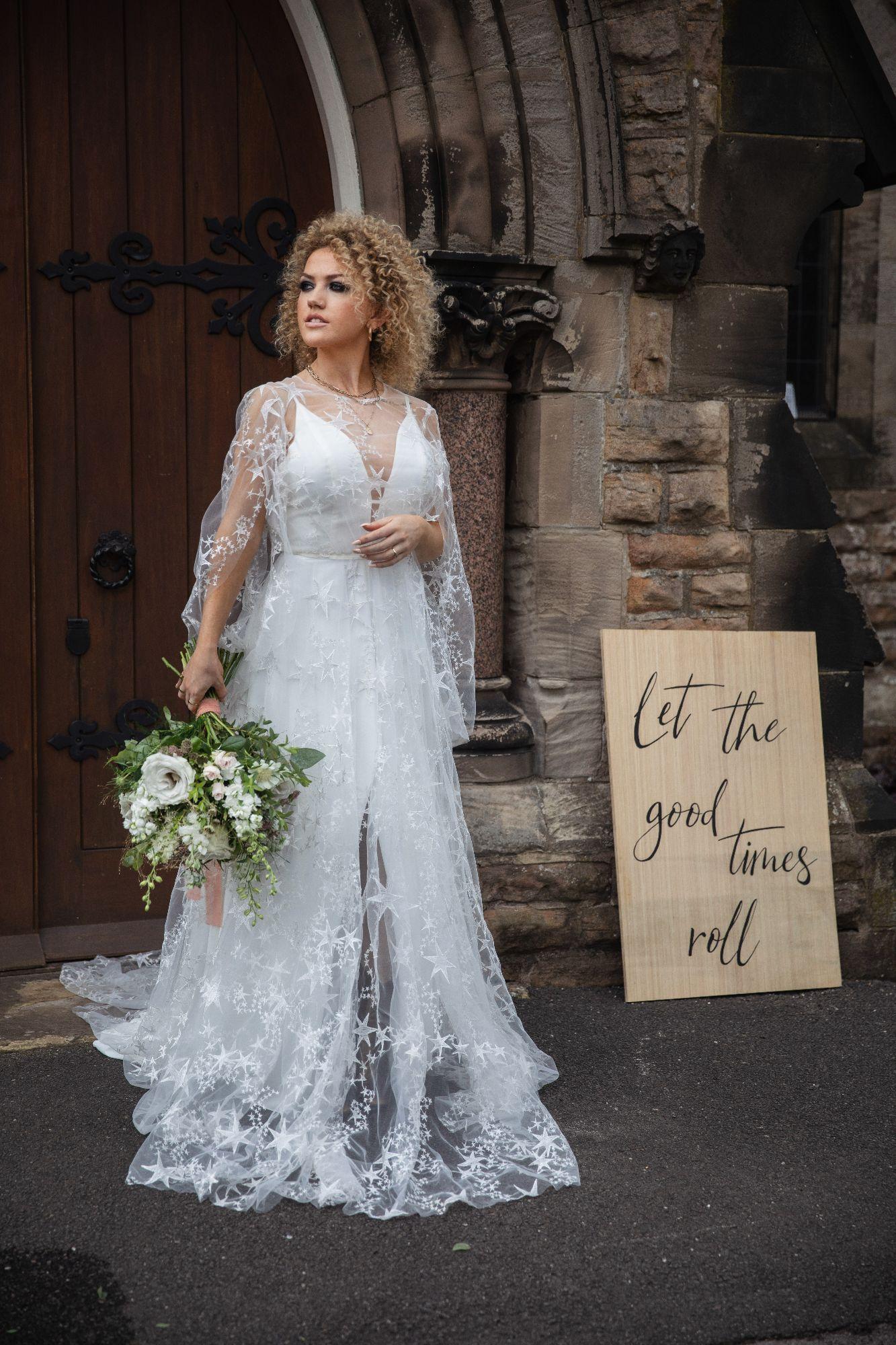Las Vegas Wedding dress with ivory star tulle overlay