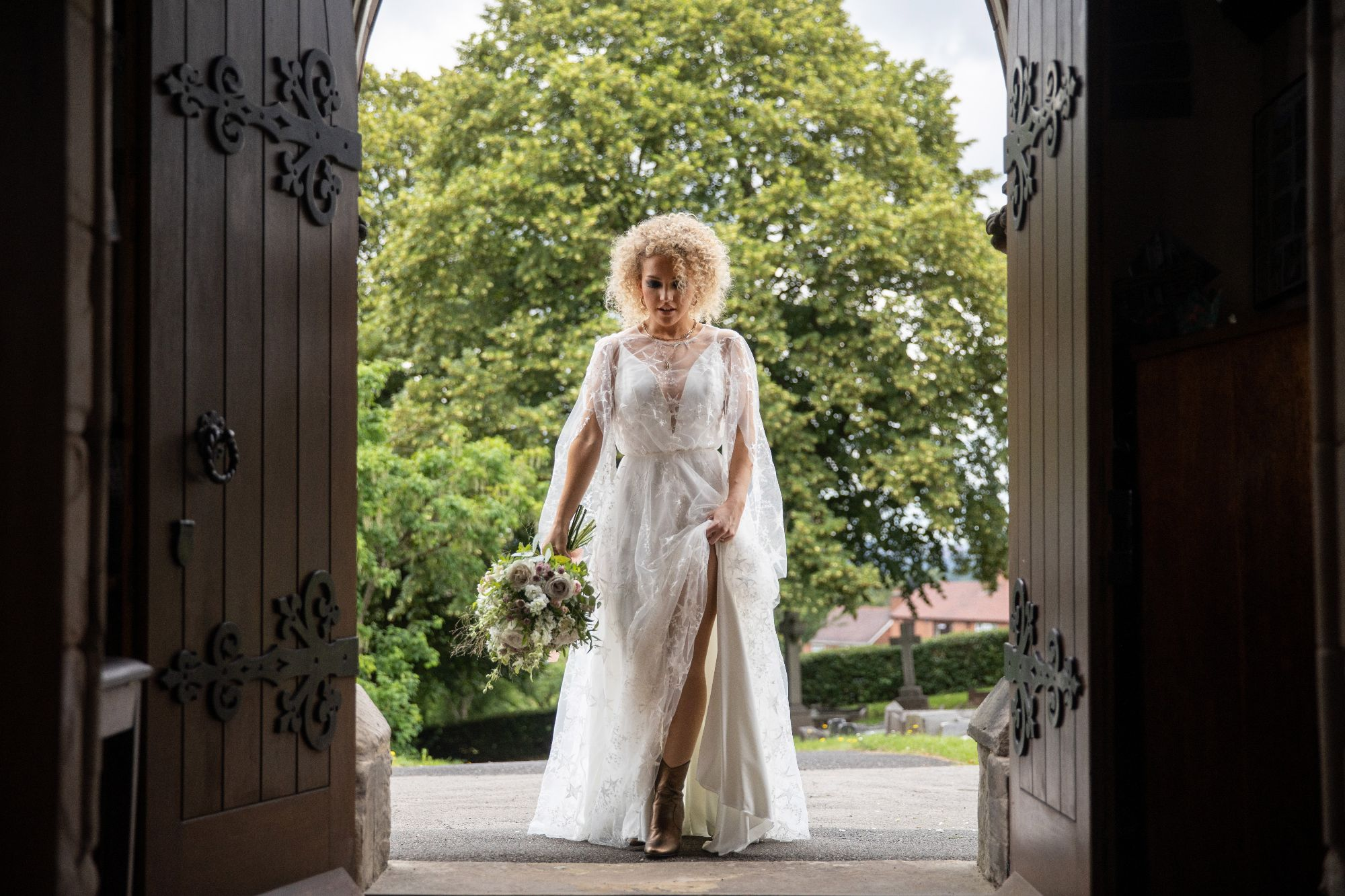 Wedding dress with ivory star tulle overlay